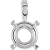 Sterling Silver Round Cut Solitaire Pendant Setting - Hearts on Top Style Pendant Mounting