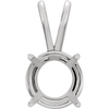 Sterling Silver Round Cut Solitaire Pendant Setting - Basket Style Pendant Mounting