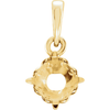 14K Gold Round Cut Solitaire Pendant Setting - Royal Scroll Style Pendant Mounting
