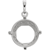 Sterling Silver Round Cut Solitaire Pendant Setting - Antique Scroll Style Pendant Mounting