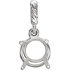 Sterling Silver Round Cut Solitaire Pendant Setting - Rope Basket Style Pendant Mounting