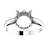 Sterling Silver Round Cut Solitaire Ring Setting - Scroll Style Ring Mounting