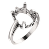 Sterling Silver Oval Cut Solitaire Ring Setting - Scroll Style Ring Mounting