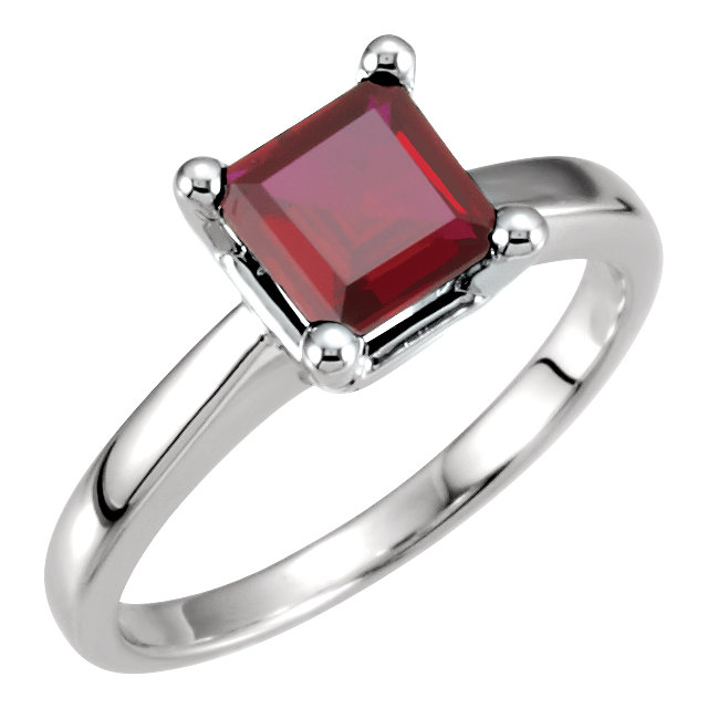 Sterling Silver Square/Princess Cut Solitaire Ring Setting - Classic Style Ring Mounting