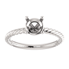 Sterling Silver Round Cut Solitaire Ring Setting - Classic Rope Style Ring Mounting