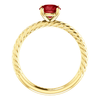 14K Gold Round Cut Solitaire Ring Setting - Classic Rope Style Ring Mounting