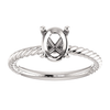 Sterling Silver Oval Cut Solitaire Ring Setting - Classic Rope Style Ring Mounting