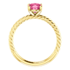 Oval Cut Solitaire Ring Setting - Classic Rope Style - 4 Prong - 14K Gold