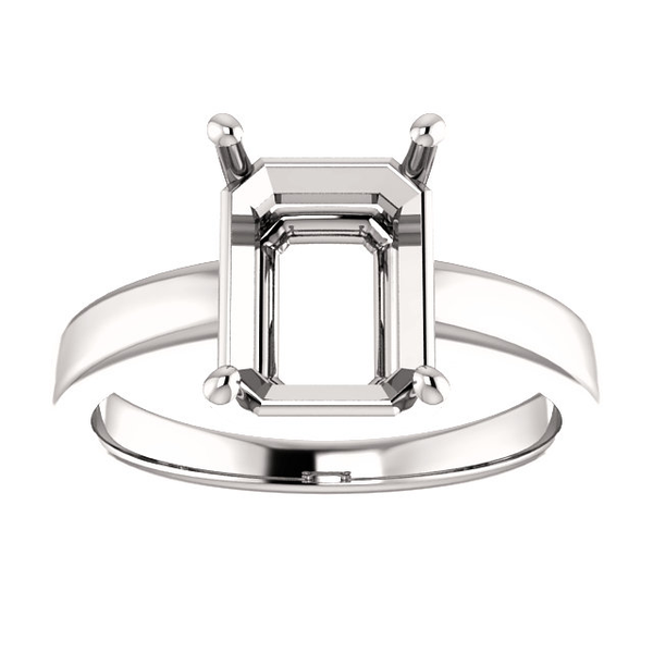 14K Gold Emerald Cut Solitaire Ring Setting - Claw Style Ring Mounting