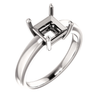 14K Gold Square/Princess Cut Solitaire Ring Setting - Claw Style Ring Mounting