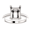 Sterling Silver Emerald Cut Solitaire Ring Setting - Double Claw Style Ring Mounting