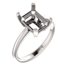 14K Gold Emerald Cut Solitaire Ring Setting - Double Claw Style Ring Mounting