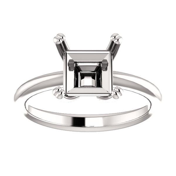 Sterling Silver Square/Princess Cut Solitaire Ring Setting - Double Claw Style Ring Mounting