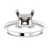 14K Gold Square/Princess Cut Solitaire Ring Setting - Double Claw Style Ring Mounting