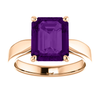 14K Gold Emerald Cut Solitaire Ring Setting - Tapered Style Ring Mounting