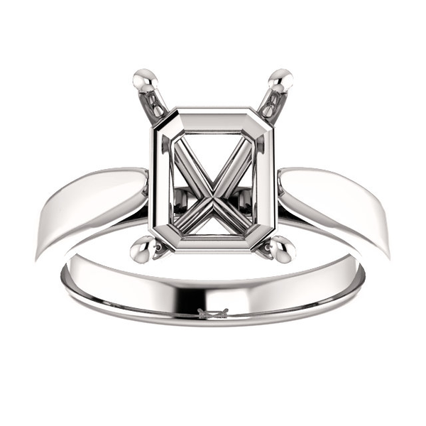 Sterling Silver Emerald Cut Solitaire Ring Setting - Tapered Style Ring Mounting