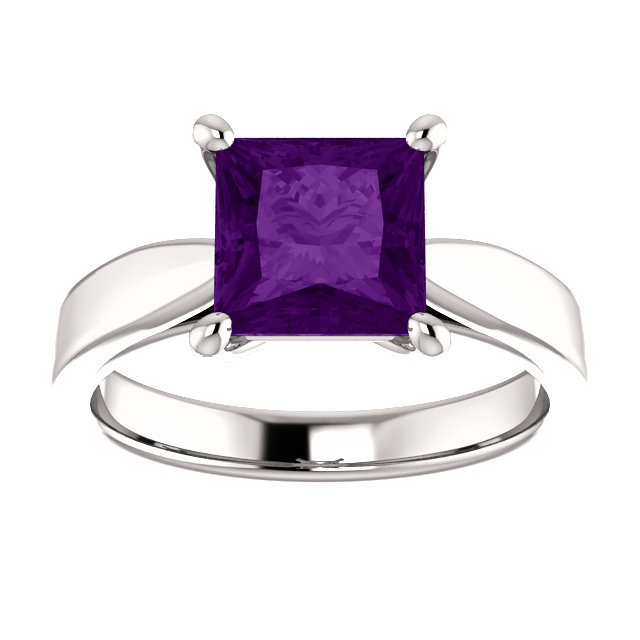 Sterling Silver Square/Princess Cut Solitaire Ring Setting - Tapered Style Ring Mounting