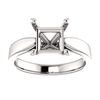 14K Gold Square/Princess Cut Solitaire Ring Setting - Tapered Style Ring Mounting