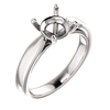 Sterling Silver Round Cut Solitaire Ring Setting - Tapered Style Ring Mounting