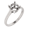 Sterling Silver Round Cut Solitaire Ring Setting - Braided Style Ring Mounting