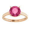 14K Gold Round Cut Solitaire Ring Setting - Braided Style Ring Mounting