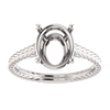 Sterling Silver Oval Cut Solitaire Ring Setting - Braided Style Ring Mounting