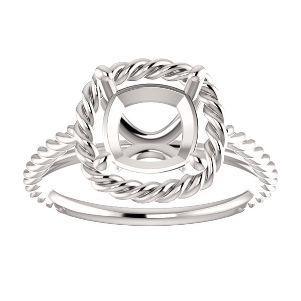Sterling Silver Cushion Cut Solitaire Ring Setting - Lasso Rope Style Ring Mounting