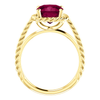 14K Gold Cushion Cut Solitaire Ring Setting - Lasso Rope Style Ring Mounting