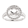 Sterling Silver Round Cut Solitaire Ring Setting - Classic Rope Lasso Style Ring Mounting