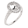 Sterling Silver Oval Cut Solitaire Ring Setting - Classic Lasso Rope Style Ring Mounting