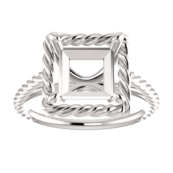 14K Gold Square/Princess Cut Solitaire Ring Setting - Rope Style Ring Mounting