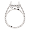 Sterling Silver Square/Princess Cut Solitaire Ring Setting - Rope Style Ring Mounting