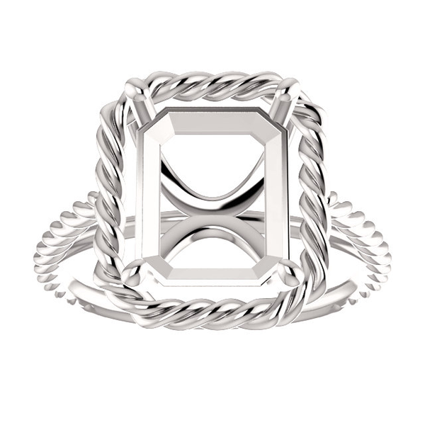 Sterling Silver Emerald Cut Solitaire Ring Setting - Lasso Rope Style Ring Mounting