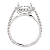 14K Gold Emerald Cut Solitaire Ring Setting - Lasso Rope Style Ring Mounting
