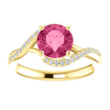 Round Cut with Diamond Ring Setting - Classic Bypass Style - 4 Prong - 14K Gold