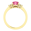 Oval Cut with Diamond Ring Setting - Side Cluster Style - 4 Prong - 14K Gold