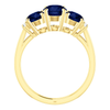 Round Cut with Diamond Ring Setting - Graduated 3 Stone Style - 4 Prong - 14K Gold