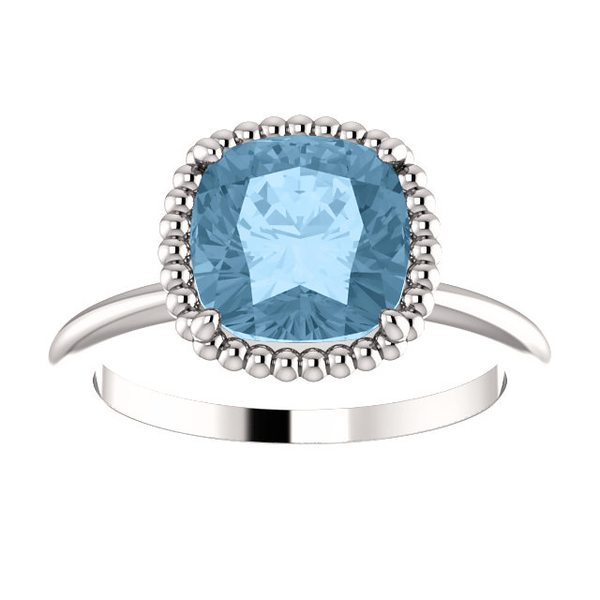Sterling Silver Cushion Cut Solitaire Ring Setting - Beaded Halo Style Ring Mounting