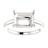 Sterling Silver Emerald Cut Solitaire Ring Setting - Modern Style Ring Mounting