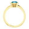Cushion Cut Solitaire Ring Setting - Modern Style - Bezel - 14K Gold