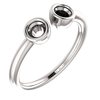 Sterling Silver Round Cut Solitaire Ring Setting - Modern Semi-Circle Style Ring Mounting