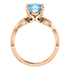 14K Gold Oval Cut Solitaire Ring Setting - Ribbon Style Ring Mounting