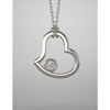 Sterling Silver Round Cut Solitaire Pendant Setting - Heart Style Pendant Mounting