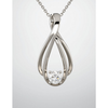 Sterling Silver Round Cut Solitaire Pendant Setting - Double Ribbon Style Pendant Mounting