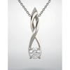 14K Gold Round Cut Solitaire Pendant Setting - Open Ribbon Style Pendant Mounting