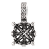 Sterling Silver Round Cut Solitaire Pendant Setting - Braided Style Pendant Mounting