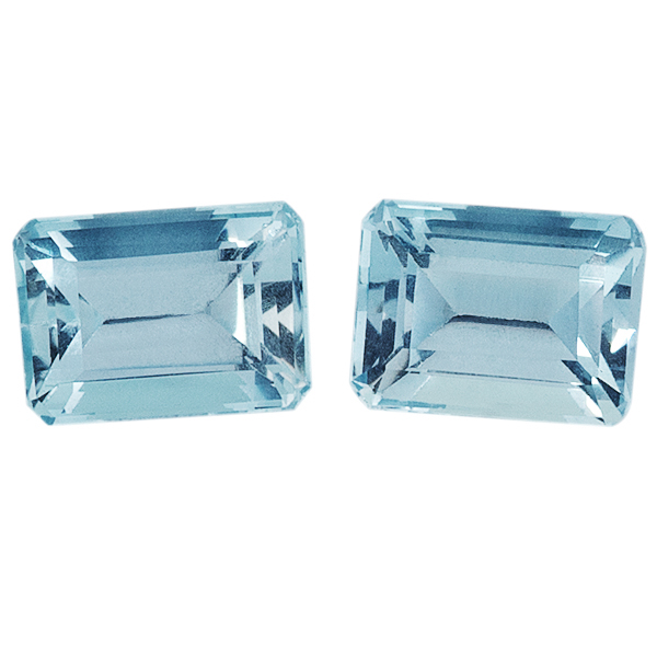 Pair Natural Fine Blue Aquamarine - Emerald Cut - Brazil - AAA Grade