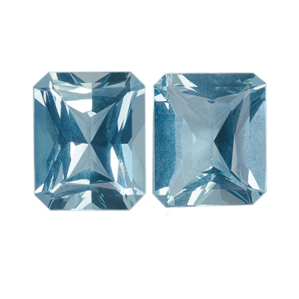 Pair Natural Fine Blue Aquamarine - Emerald Diamond Cut - Brazil - AAA Grade