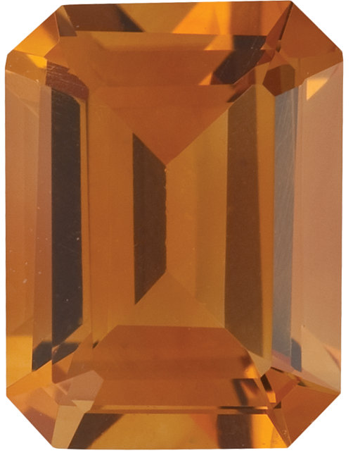 Natural Fine Deep Orange Gold Citrine - Emerald Cut - Brazil - AAA Grade