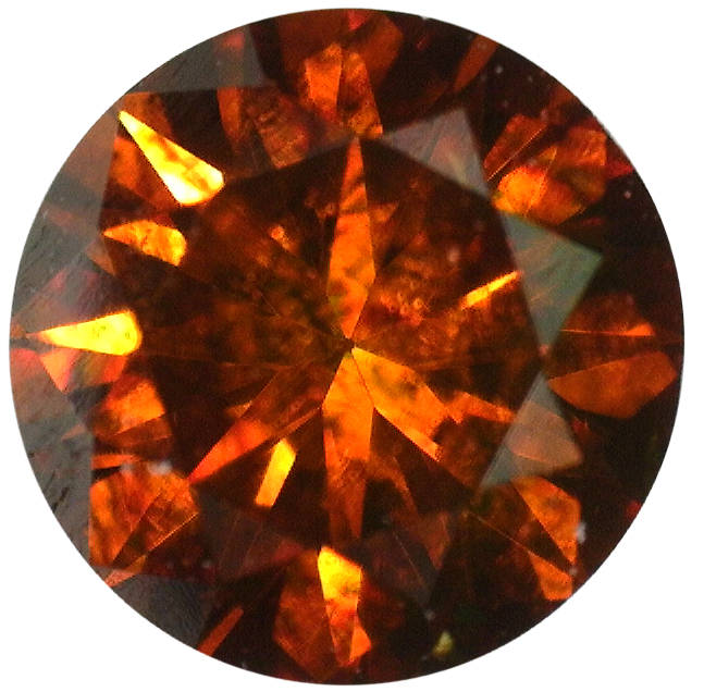 Natural Extra Fine Deep Amber Red Diamond - Round - VS2-SI1 - Africa - Extra Fine Grade